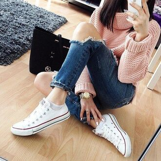 shirt pullover pink ripped jeans michael kors bag converse ootd nude white converse black bag michael kors bag blue jeans destroyed boyfriend jeans gold watch