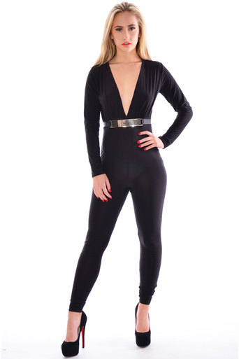 Makaio Plunge Style Front Buckle Jumpsuit In Black - Pop Couture