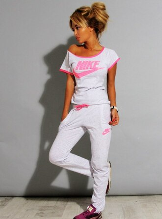 jumpsuit nike white grey pink off the shoulder off the shoulder sweater off the shoulder top pants nike sportswear tracksuit joggers summer outfits swag