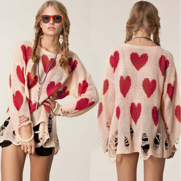 New Fashion Womens Cute Heart Print Knit Loose Hem Hole Knitwear Sweater Jumper | eBay