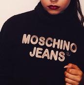 sweater,sweat,black sweat,moschino