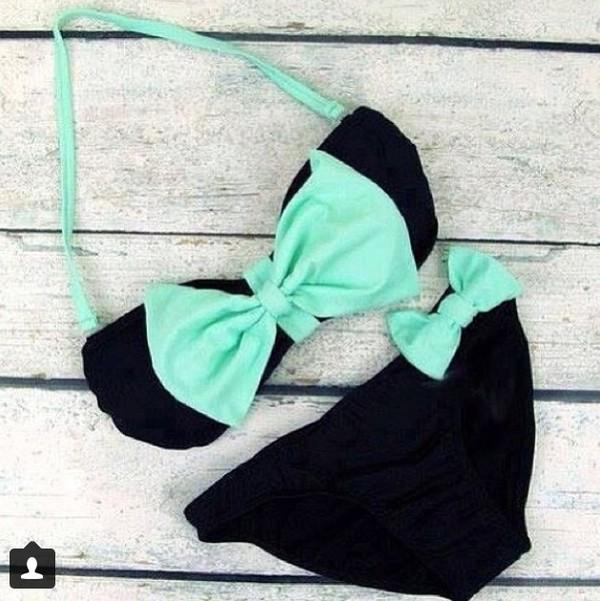 swimwear black turquoise black swimwear bikini bow