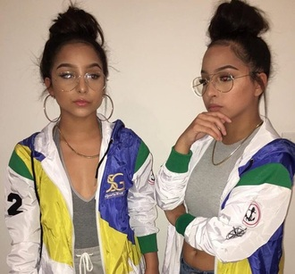 jacket blue white black green hoodie siangietwins windbreaker multicolor sunglasses clear glasses colorful yellow