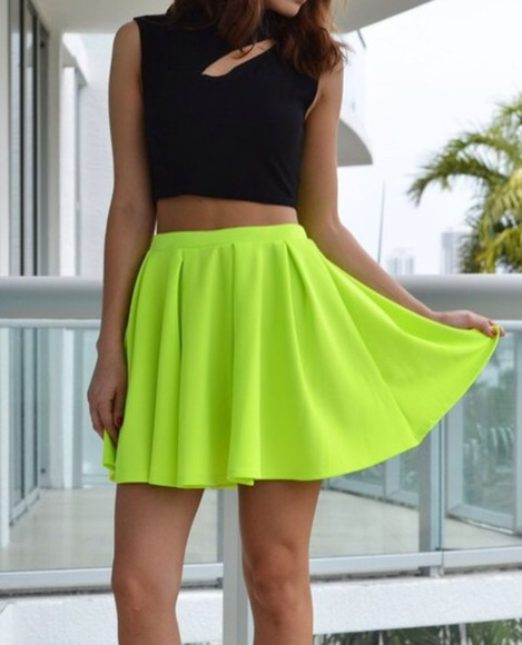 skirt t-shirt blouse shirt dress shoes neon skirt skater skirt pants summer jeans leggings shorts color denim high heels colorful neon fashion celebrity style yellow harem t-shirts glasses versace style bikini summer outfits high waisted short