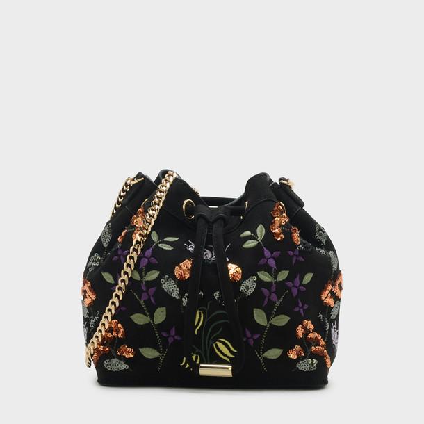 embellished drawstring bag black
