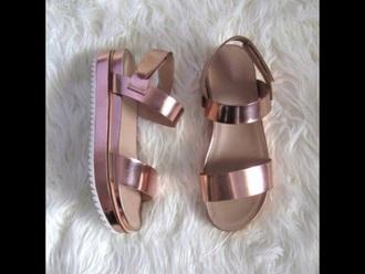 shoes metallic platform flatform  chunky strappy sandals mirror