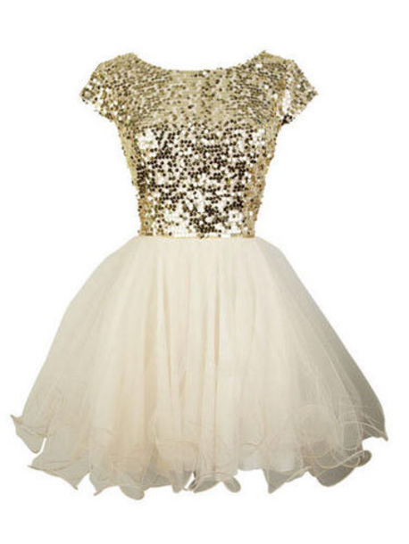 dress cute cute dress gold white gold and white dress short short dress short prom dress prom prom dress short sleeve short sleeve dress sparkle sparkly dress white dress gold dress