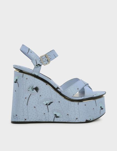 cross criss cross wedges blue shoes