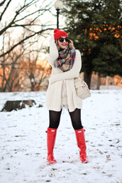 a lacey perspective - a fashion blog based in our nation's capital.,blogger,dress,winter outfits,beanie,shoulder bag,wellies,cardigan,tartan scarf,red boots