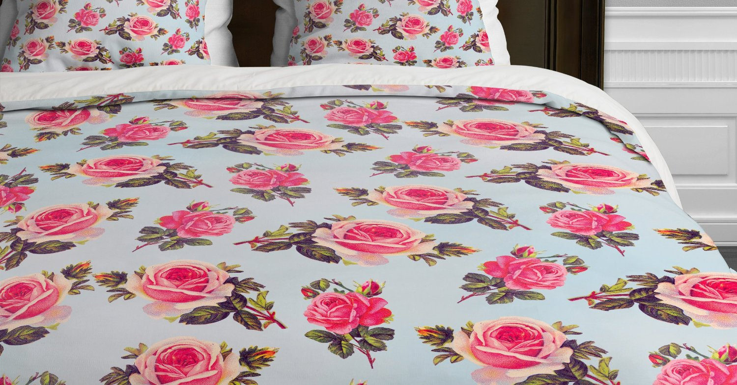 Deny designs allyson johnson pink roses duvet cover, queen