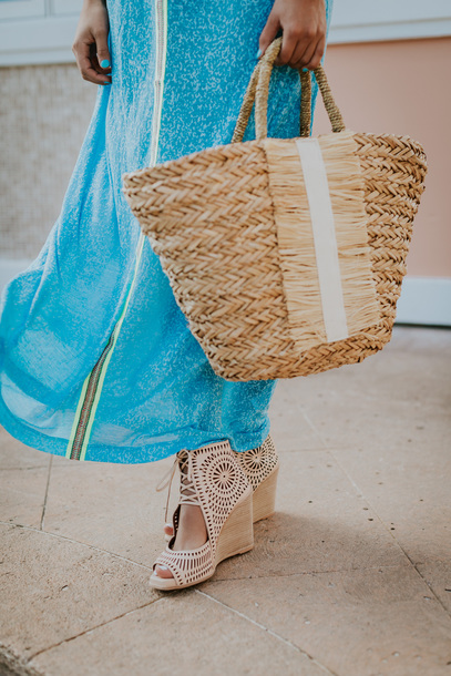 Bag: tumblr, beach bag, wedges, wedge sandals, sandals, dress ...