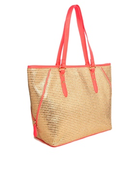 New Look | New Look Libby Straw Beach Bag with Coral Contrast Trim at ASOS