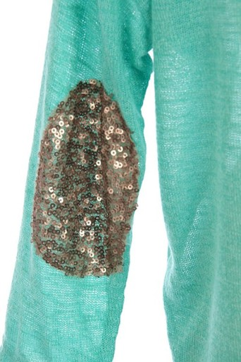 Sequin elbow patch top in mint
