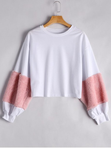 sweater pink white casual sweatshirt