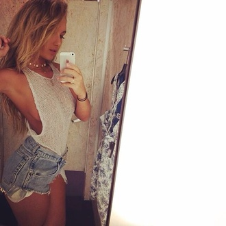 shirt bodysuit white crochet top grey knitwear cotton tank top vest crop tops shorts summer denim cute outfits net cut off shorts blonde hair