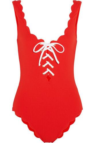 scalloped lace red swimwear