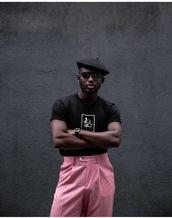 pants,pink pants,hat,round frame glasses