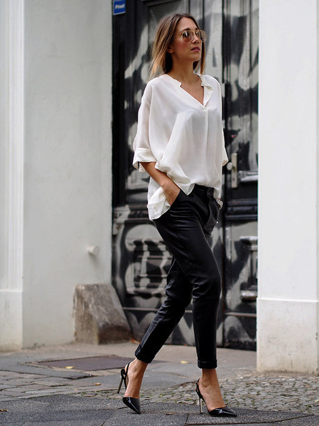 Shirt: asymmetric shirt, white shirt, pants, black leather pants ...