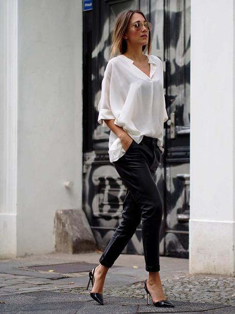 Shirt Asymmetric Shirt White Shirt Pants Black Leather