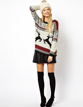 ASOS | ASOS Christmas Sweater in Reindeer Fairisle at ASOS
