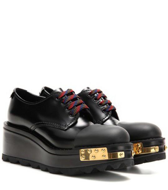 Prada Embellished Leather Derby Shoes in black