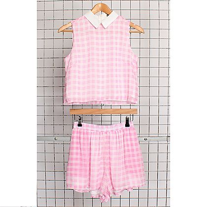 Hearts and Bows Pink Stones Checked Shorts