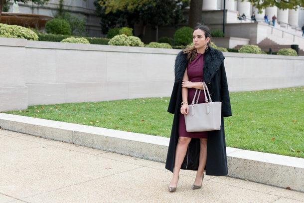 district dress up blogger coat t-shirt dress shoes bag jewels fall outfits winter outfits fur collar coat pumps burgundy dress