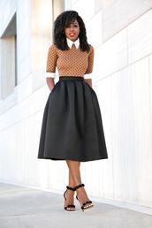 blogger,dress,printed shirt,midi skirt,black skirt,black sandals,office outfits