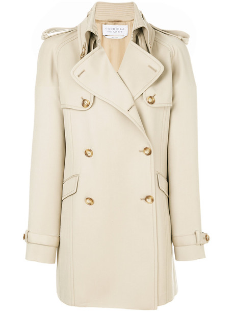 Gabriela Hearst coat trench coat short women nude silk wool