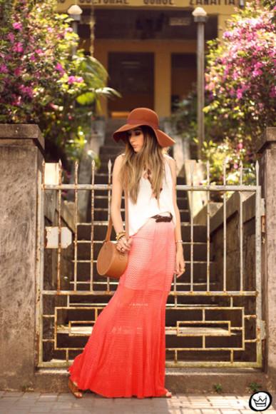 ombre fashion coolture blogger skirt bag jewels felt hat