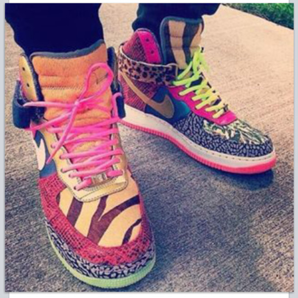 high top colorful sneakers