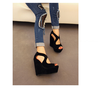 shoes black wedges black wedges shoes black wedges high heels ripped jeans wedge shoes jeans