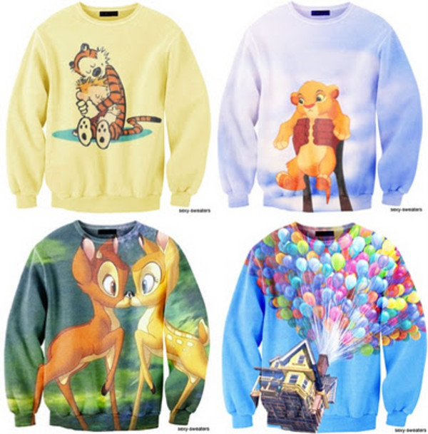 sweater disney sexy sweater lion king hakuna matata up bambi tigger pooh bear disneyland yellow green blue balloons house lion monkey