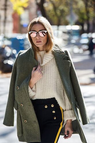 pants sweater turtleneck oversized turtleneck sweater olivia palermo coat fall outfits sunglasses