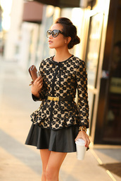wendy's lookbook,t-shirt,jacket,bag,shoes,belt,sunglasses,jewels,blouse,black,print,plum,designer,polka dots