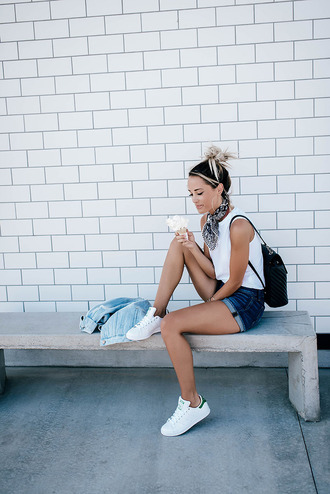 styled avenue blogger shorts scarf shoes bag white top backpack black backpack white sneakers denim shorts adidas blue shorts bandana sleeveless top denim jacket summer outfits back to school