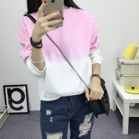 Fashion Long Sleeve Sweatshirts Slim Autumn Round Neck Gradual Change Printing M-XXL Loose Women Sweatshirt on Storenvy
