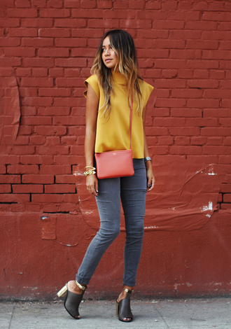 sincerely jules jeans blouse shirt shoes bag jewels t-shirt yellow t-shirt red bag crossbody bag grey jeans boots high heels boots top blogger lifestyle blogger