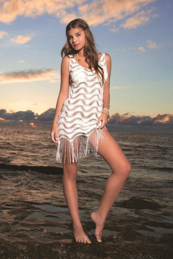 dress designer fringes gorgeous amazing truly white crochet nylon bottoms luli fama bikiniluxe