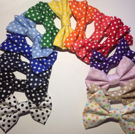 Polkadot print hair bow
