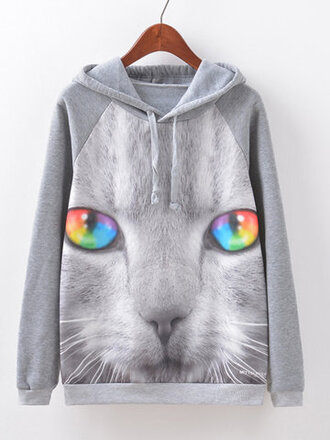 sweater cats fashion style grey rainbow long sleeves newchic