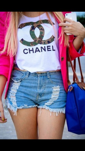 longchamp shirt chanel white print pink blazer blue jeans shorts camouflage used look