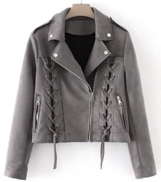 jacket girly grey suede suede jacket biker jacket lace lace up