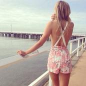 dress,floral,white,romper,jumper,cross,open back,criss cross back,jumpsuit
