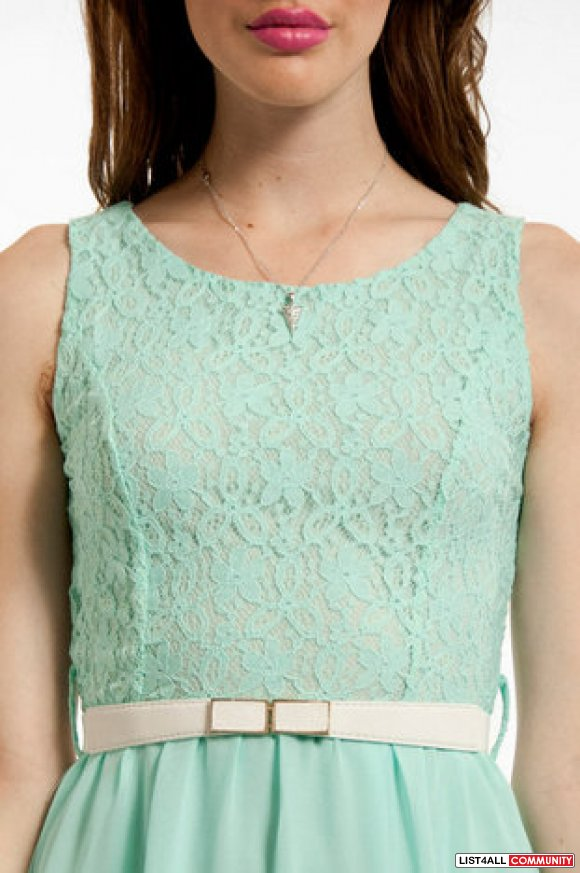 Pastel / Mint Green Lace Belted Hi-Lo Dress Small :: dina :: List4All