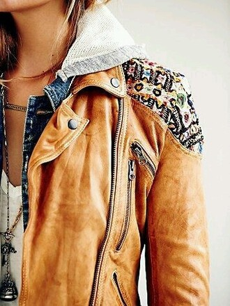 jacket pattern tan hoodie jacket zip-up leather jacket