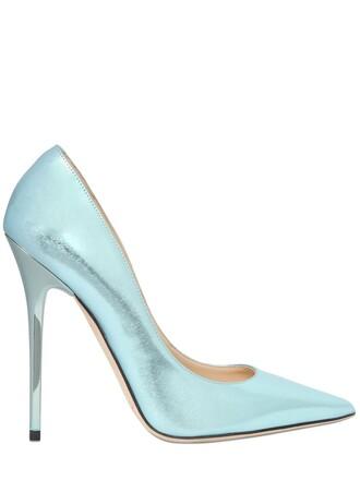 pumps leather light blue light blue shoes
