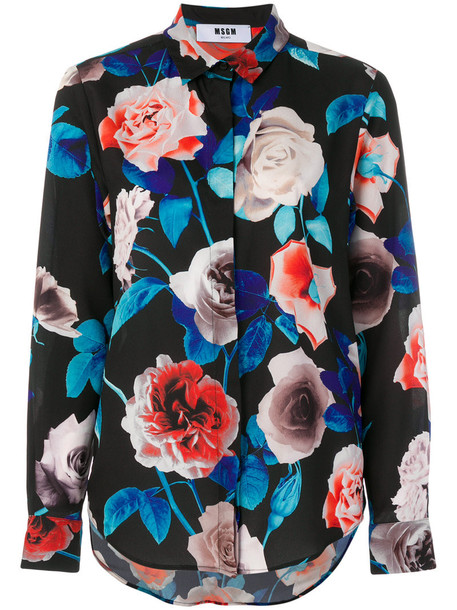 MSGM shirt flower shirt women black top