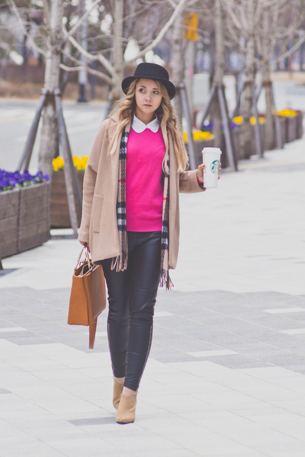 my blonde gal sweater bag coat scarf jewels hat shoes