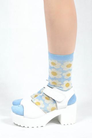 Floral Sheer Socks - White | SHALEX.NET